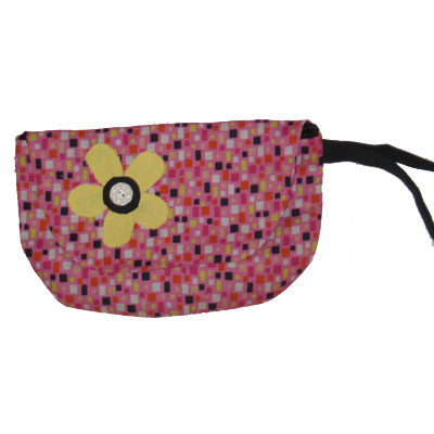 Wristlet Pink and Yellow with Flower